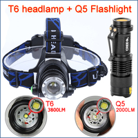 LED Headlight T6 3800LM head lamp zoom 18650 Head lights headlamps & Q5 Mini flashlight 2000lm zoomable frontale