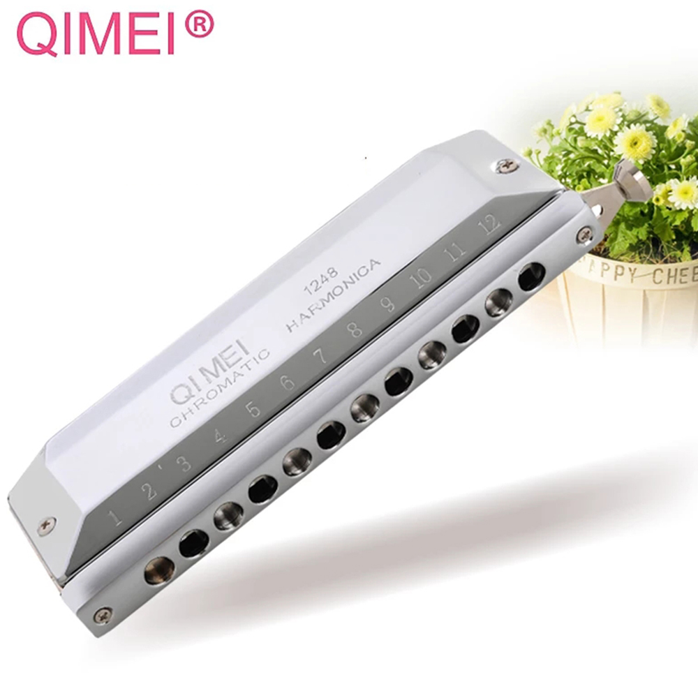 Qimei Chromatic Harmonica 12 Holes Harp Mouth Organ Instrument ABS Comb Key Of C Professional Musical Instruments Qi Mei 1248Qimei Chromatic Harmonica 12 Holes Harp Mouth Organ Instrument ABS Comb Key Of C Professional Musical Instruments Qi Mei 1248