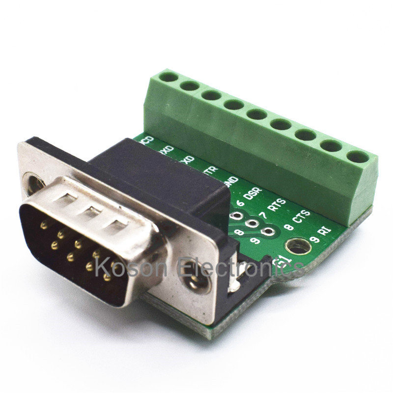 DB9 RS232 Serial to Terminal Male Adapter Connector Breakout Board Black+Green 2pcs hdmi 2 0 hd adapter male connector breakout to 19p terminal board no need soldering high quality with housing shell