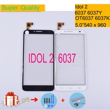 For Alcatel One Touch Idol 2 6037 6037Y 6037K OT6037 Touch Screen Touch Panel Sensor Digitizer Front Glass Touchscreen NO LCD lcd screen display touch panel digitizer with frame for alcatel one touch idol 3 6045 ot6045 black color free shipping