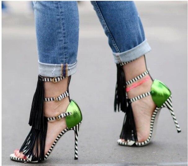 2016 New Designer Women Faux Suede Tassel Fringe Zebra Striped Print Strappy Ankle Strap buckle Open Toe Sandals High heel pumps