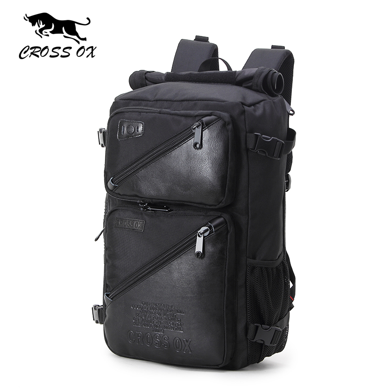 CROSS OX 2017 New Arrival Multi-function backpack For Men Nylon and PU leather backpack Computer bag Man Hike bag BK036M 2209 wholesale 2017 new spring and summer man casual backpack wave packet multi function oxford backpack