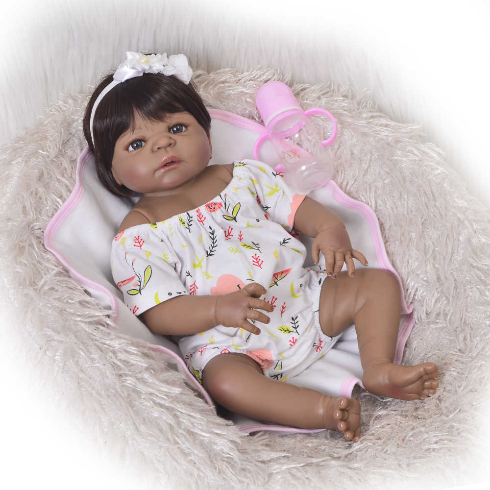 Collectible 23 Inch Reborn Baby Doll Full Body Silicone 57cm Realistic Black Skin Baby Doll Girl Kid Birthday Gift Fake Baby Toy