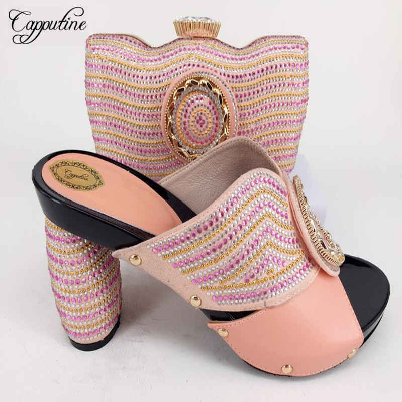 Capputine High Quality Italian Woman Shoes And Bag Set Italian In Women High Heels Party Shoes And Bag For Wedding Free Shipping capputine italian fashion design woman shoes and bag set european rhinestone high heels shoes and bag set for wedding dress g40