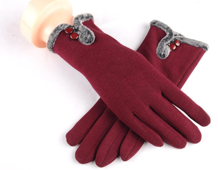 Fashion Autumn Winter Warm Thermal Women Gloves Mittens Solid Gloves Outdoor Hiking Riding Cycling Skiing Cotton Female Gloves