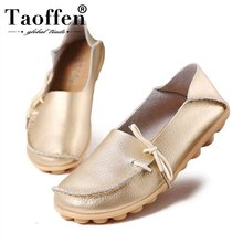 TAOFFEN Women Real Leather Flats Shoes Round Toe High Quality Bowtie Loafers Fashion Daily Leisure Size 34-44