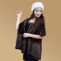 Ms Muffler Solid Color Mink Hair Herringbone Knitted Cape Fur Shawl Hot Scarf Large Facecloth
