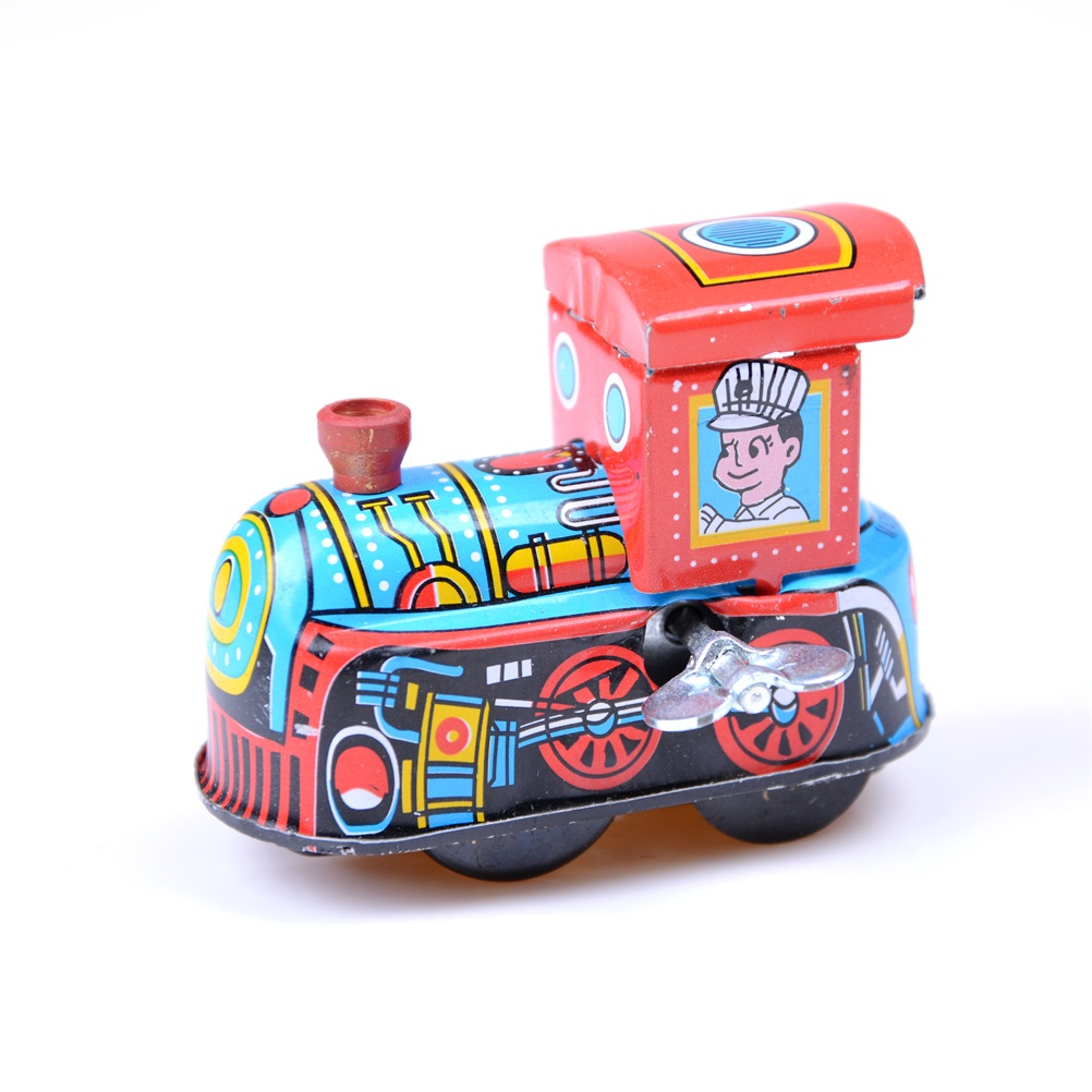 1Pc Steam Train Reminiscence Children Vintage Wind Up Tin Toy Clockwork Spring Locomotive Classic Toy for Baby Kids Children