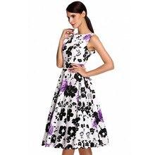 Plus Size Purple Rose Flower Printed One Piece Round Neckline Vintage Sleeveless Homecoming Retro Dress L36087-1