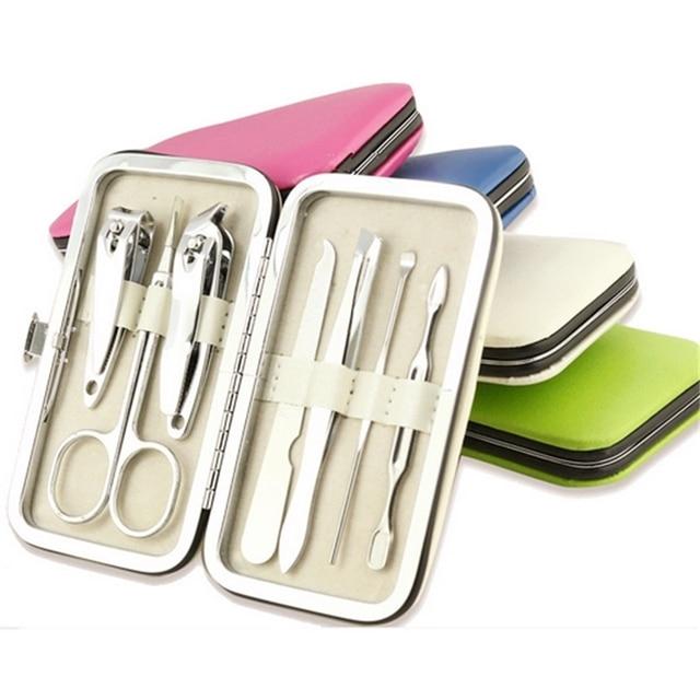 manicure sets nail tool suite 7 pcs,nail clippers beauty scissors eyebrow clip curette sub nail file,manicure pedicure kit set.