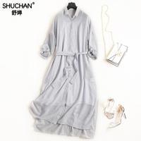 Shuchan Shirt Dress Striped Gray Cotton Linen Ladies Straight Dresses 2018 Summe Turn Down Collar Robes