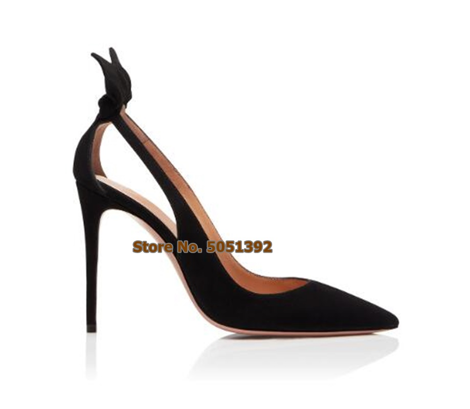 Thin <font><b>High</b></font> <font><b>Women</b></font> <font><b>Sandals</b></font> Pointed Toe Suede Bow-knot Stiletto <font><b>Pumps</b></font> <font><b>Sexy</b></font> Concise Elegant Plus Size Butterfly Wedding Shoes image