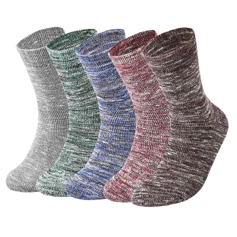 Vbiger Colorful Men Crew Socks Thickened Winter Terry Socks Terry Cushioning Boot Socks Warm Cotton Socks 5 Pairs
