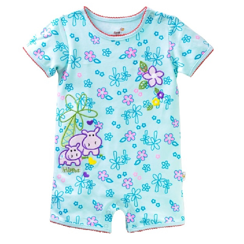 2016 Floral Baby Girls Scurta Rompers 100% bumbac moale Hippo Baby - Haine bebeluși