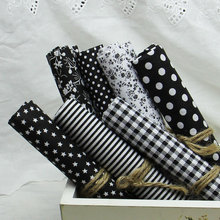 Cheapest Cotton Fabric 7Pcs Plain Black Patchwork Fabric,Textile Fabrics for Sewing,Patchwork,Tissu DIY Doll Cloth Quilt Craft