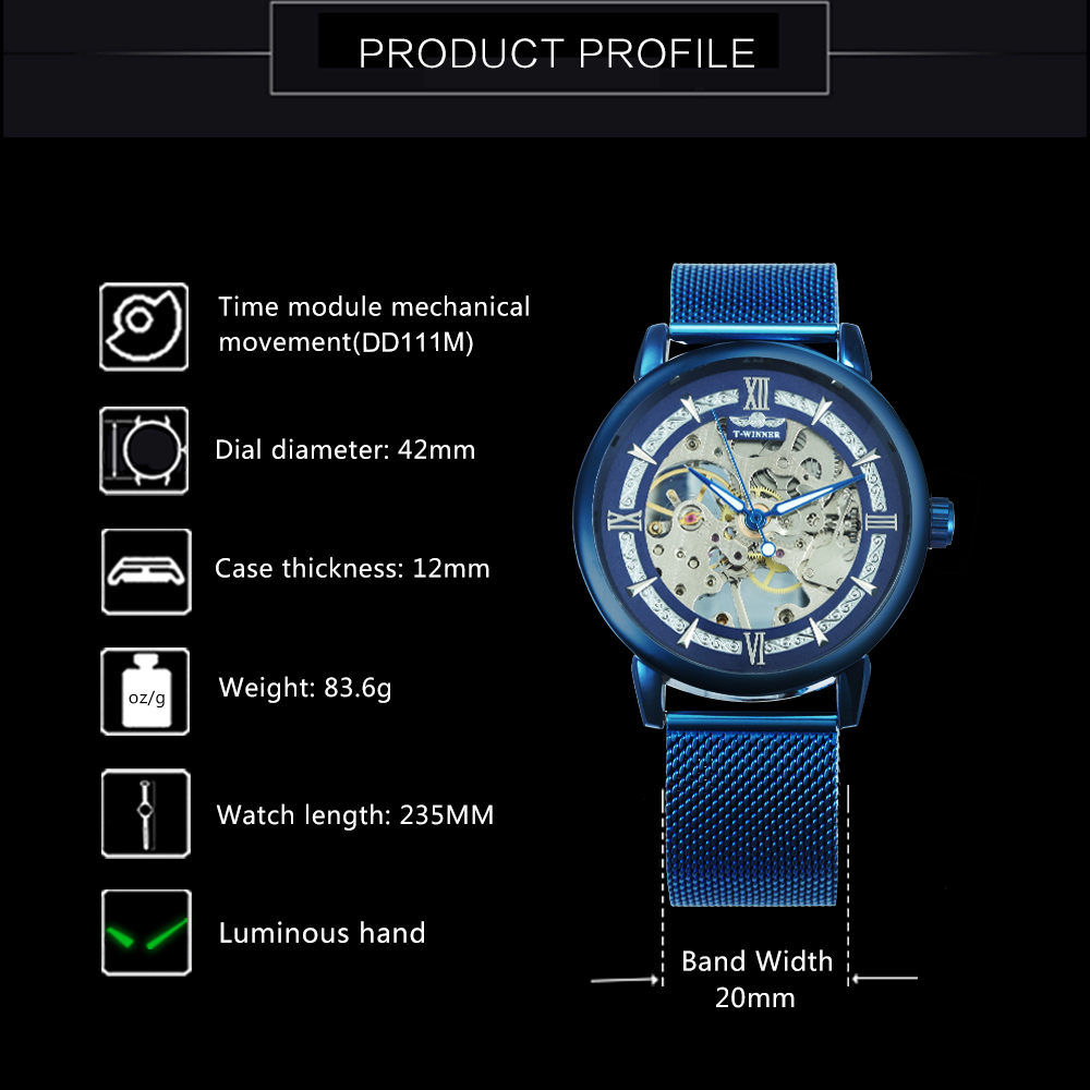 WINNER Official Fashion Casual Men Mechanical Watch Blue Mesh Strap Ultra Thin Skeleton Mens Watches Top Brand Luxury Clock 2019