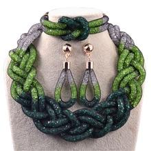 Новое поступление 2015 красивые позолоченные зеленые кристалл смола свадебные бижутерия, ожерелья серьги браслеты