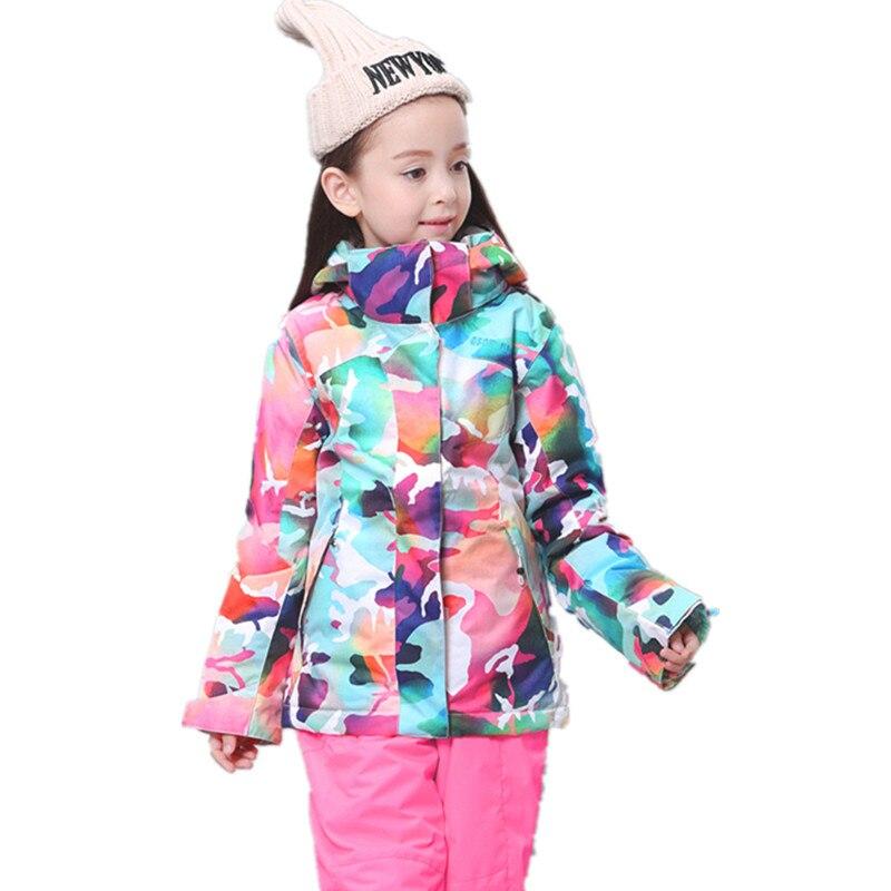 GSOU SNOW Ski Jacket Kids Winter Snowboard Jacket Hoodie Girls Super Warm  Snow Camouflage Clothing Children 30 Degree Sports-in Snowboarding Jackets  from ... 545b4a20d