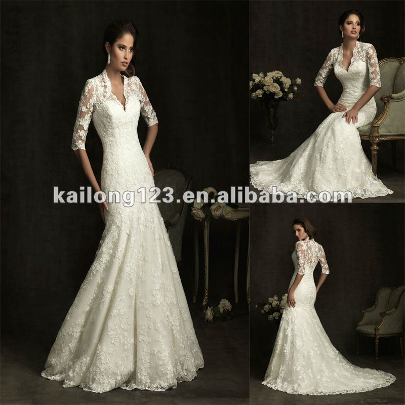 Royal V Neck Slim A Line Chapel Train Lace Long Sleeve Wedding Gowns