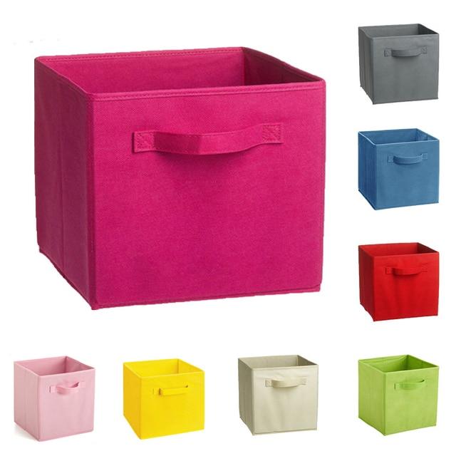 Non Woven Fabric Folding Storage Box Cube Kids Toy Finishing Organizer  Books Sundries Clothing Storage