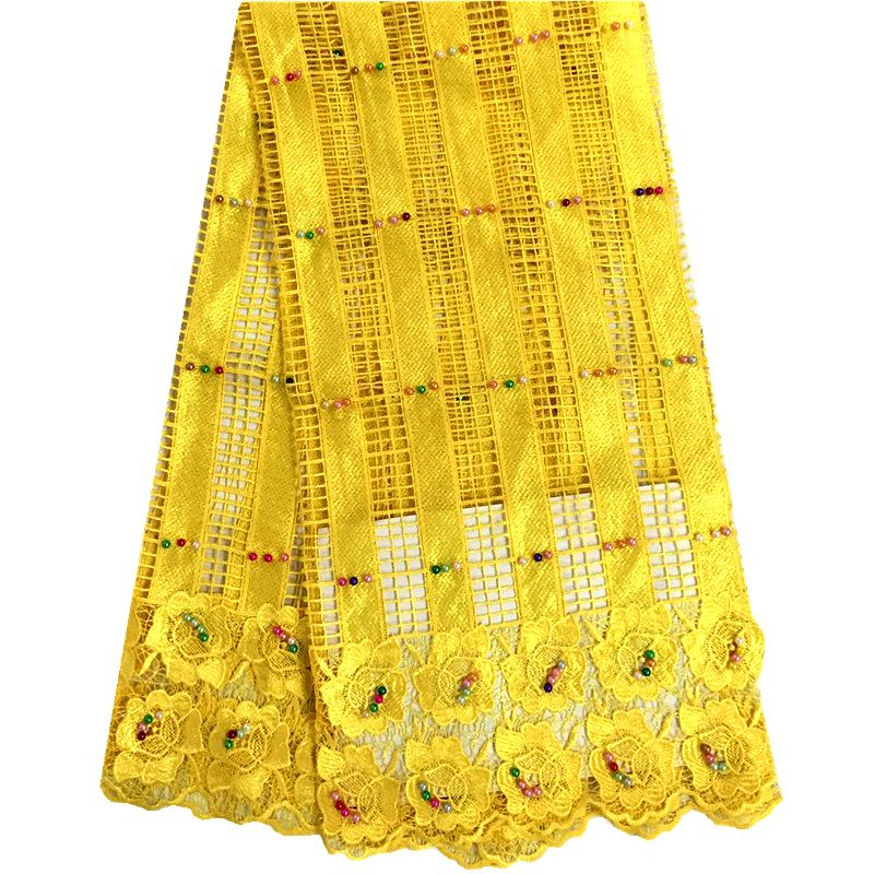 Latest Style Beaded Lace Fabric 2016 Fashion African Lace Fabric Tulle Yellow Color African French Lace Fabric High Quality