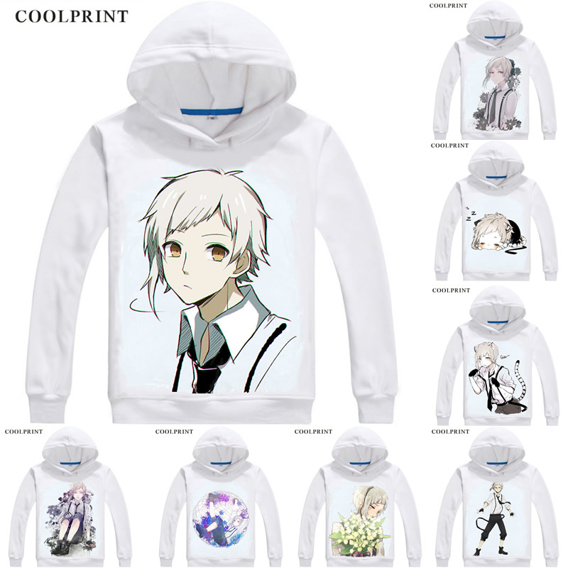 Nakajima Atsushi White Tiger Mens Hoodies Bungou Stray Dogs Literary Men Sweatshirt Streetwear Anime Hoodie Printed Long Hooded