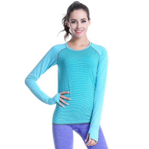 Calofe Female T Shirts Women Long Sleeve O-Neck Sports Shirts For Running Jogging Quick Dry Patchwork Striped Gym Fitness Tops