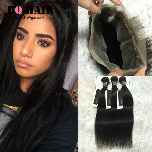 BQ Remy Hair Mink 100% Raw Indian Hair Straight 360 Frontal Closure with 3 Bundles Deals Perruque 8A Fast Freeshipping  #1B Soft