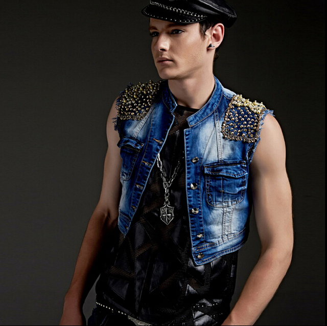 New men brand singer stage Diamond denim vest dj costume vest Men's cowboys vests hosts clothing nightclub vests