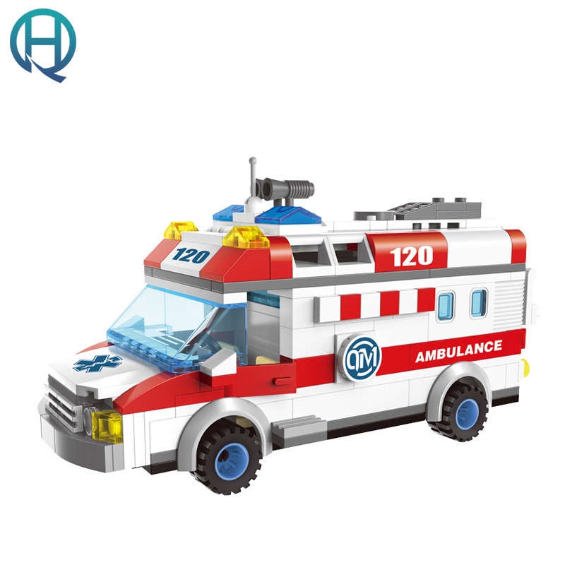 Enlighten City Series Ambulance DIY Model Car Building Blocks Bricks Sets  Educational Birthday Gift Toys For Children Kids 2017 enlighten city series garbage truck car building block sets bricks toys gift for children compatible with lepin