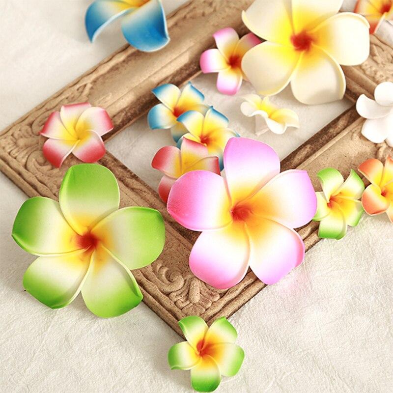 10pcs 4/9cm Foam Hawaii Beach Flowers For Wedding Party Plumeria Flowers DIY Scrapbook Egg Fake Flower Head