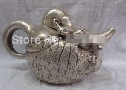Fast ShippingChina Silver RuYi Happy Laughing Maitreya Buddha Statue Brass Wine Pot Teapot
