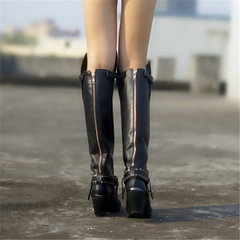 e21316e4d1270 Prova Perfetto Metal Pointed Toe Women Thigh High Boots Black Genuine  Leather Over the Knee Boots. sku: 32832784615