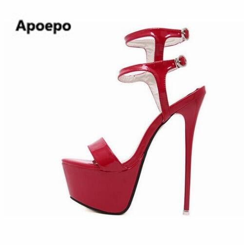 Apoepo brand red black white glossy patent leather 16cm very high heel dress sandals platform stiletto heel buckle strap shoes