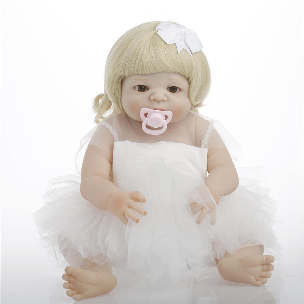 SanyDoll 22inch 57cm Full Silicone Reborn Girl Baby Doll Toys Lifelike Newborn White princess skirt beautiful doll Girl Gift