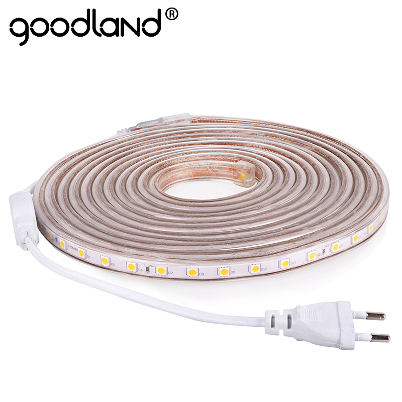 Goodland LED Strip Light AC 220V SMD 5050 Qonaq otağı üçün elastik LED lentli 60LEDs / m lent 1M 2M 3M 4M 5M 10M 12M 15M 20M