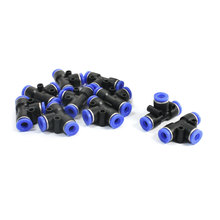 UXCELL 10 Pcs Equal 6Mm Joint 3 Ways T-Shaped Tee Connection Black Blue Plastic Air Pneumatic Push In Fittings Quick Joints