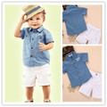 2017 New baby boys cotton short sleeve t shirt + white shorts set kids casual clothes suit fashion summer outwear