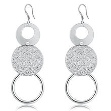 925 silver jewelry elegant round dangle earrings women trendy romantic earing gifts