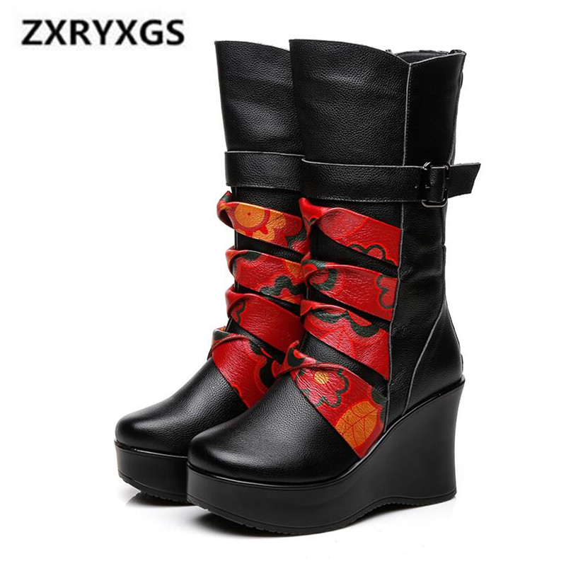 2019 Newest Fashion Winter Boots Women Shoes Printing Cow Leather Boots Non-slip Comfort Wedges In-tube Knight boots Women Boots2019 Newest Fashion Winter Boots Women Shoes Printing Cow Leather Boots Non-slip Comfort Wedges In-tube Knight boots Women Boots