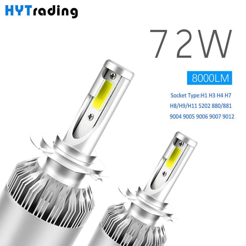 Luces Led Para Auto H4 H7 H1 H13 9005, 9006 Led de los faros de coche bombillas coche Led H11 8000LM blanco frío 72 W estilo de coche W5W luces