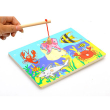 Brand New Baby Kid Wooden Magnetic Fishing Game 3D Jigsaw Puzzle Toy Interesting Baby Children Educational Puzzles Toy Gift(China)