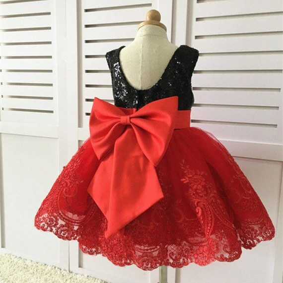 Black sequins Lace Back Couture Flower girl dresses red princess Toddler Pageant Dress baby 1st birthday party frocks with bow cute red and black princess dress sequin toddler summer dresses ruffles with bow baby girl sleeveless 1st birthday dress