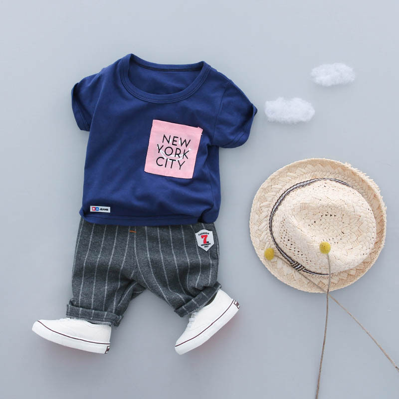 Baby Boy Clothes Set Summer 2018 New Cotton Short Sleeved Boys Clothing Set t shirts+Striped Pants 2pcs Chilren Clothes