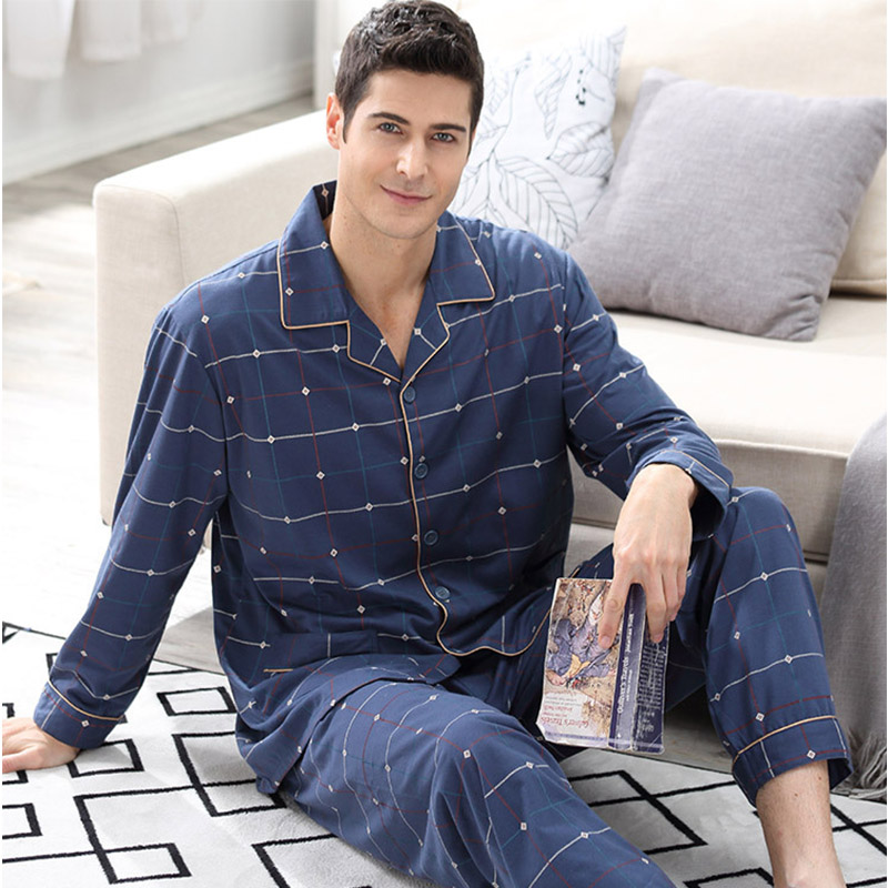 CherLemon Autumn Mens Premium Cotton Pyjamas Sleepwear Long Sleeve And Bottom Pajama Sets Classic Male Plaid Blue Homewear M-4XL