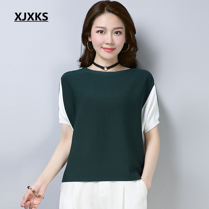 XJXKS Casual Streetwear Slash Neck Women Tops Ladies Brand Clothing Batwing Sleeve Women's T-shirts For Gift