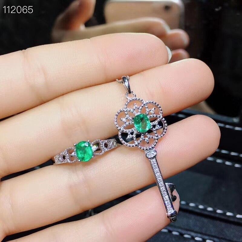 Alte Schöne Aushöhlung Key S925 silber natürliche grüne smaragd edelstein ring Anhänger natürliche edelstein schmuck set frau partei geschenk