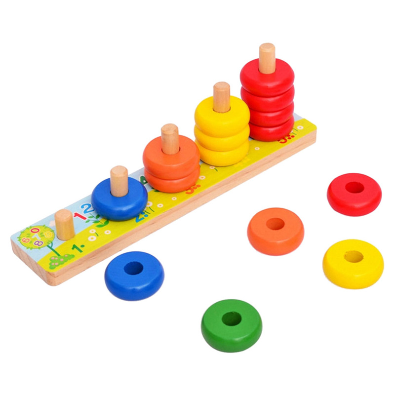 Baby Magic Calculate Circles Rainbow Loop Puzzle Games Kids Counting Stacker Number Learning Wooden Early Educational Toy
