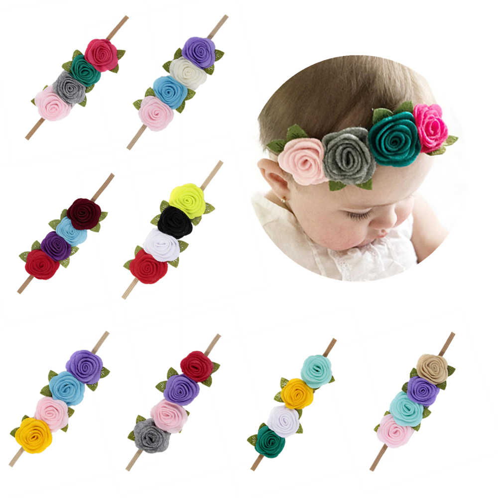 Fashion Felt Rose Flower Headband Baby Girls Leaves Flower Headwear Infant Toddler Birthday Gift Photo Shoot Hair Accessories