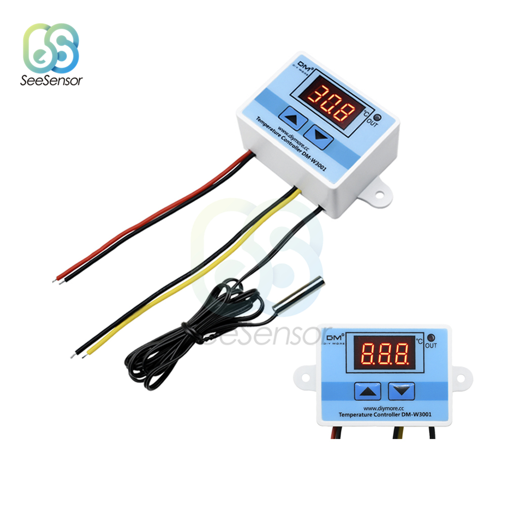<font><b>XH</b></font>-<font><b>W3001</b></font> <font><b>W3001</b></font> DC 12V 24V AC 220V Temperature Controller Digital LED Thermometer Thermo Controller Switch Probe Max 10A NTC10K image